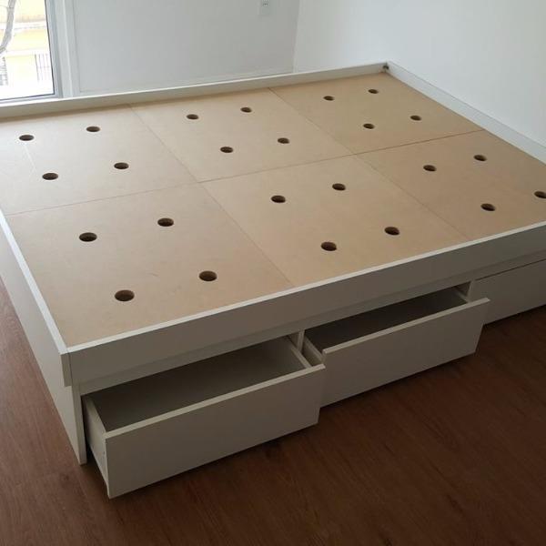 Cama box de dos plazas 4 cajones ba l carpintero en for Cama 2 plazas con cajones