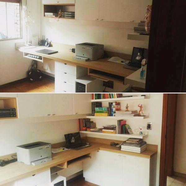 Oficina en casa de familia todo en melaminico carpintero for Casas de muebles en montevideo
