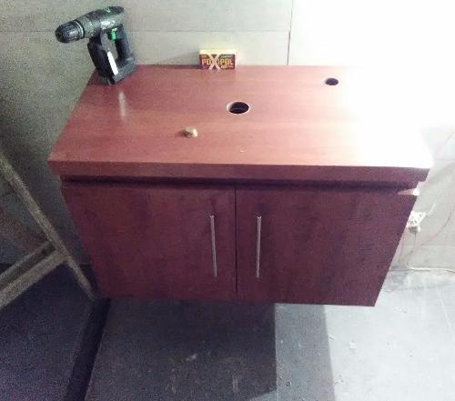 Mueble bajo mesada y armario panelero en melaminico for Muebles bano montevideo