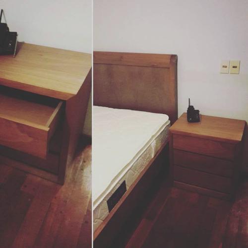 Cama respaldo mesa de luz madera lustrada for Muebles madera montevideo